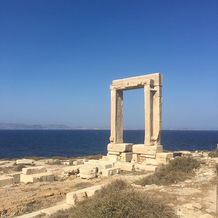 Views of the Portara, over to Naxos and at sunset