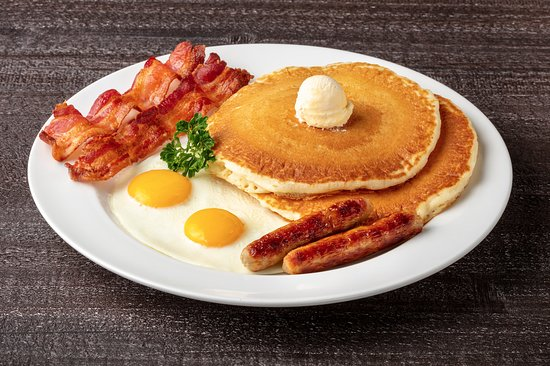 Bellflower, Kalifornia: The 4 Deuces: For just $5.99, you get 2 Buttermilk Hotcakes made from scratch, 2 Strips of Bacon, 2 Sausage Links and 2 eggs.