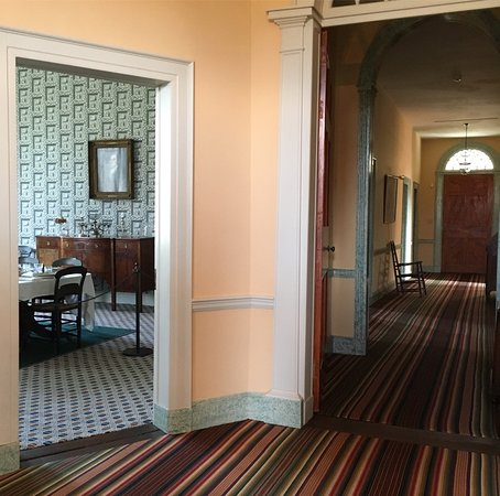 Farmington Historic Home: Fascinating patterns.  Dining room and front door.