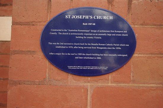 St Joseph Catholic Church: Plaque