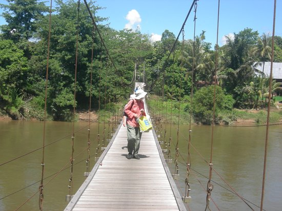 Putussibau, Indonesia: Crossing Medalem river with suspension bridge and explore the village visit long houses of Dayak Taman