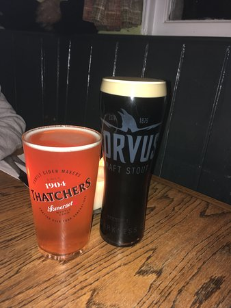Norton St Philip, UK: Corvus stout and cheddar apple cider