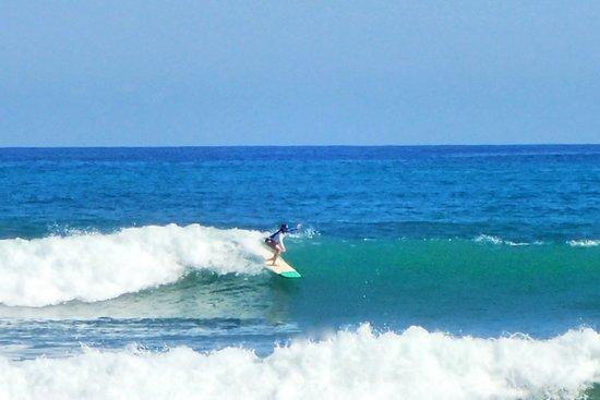 Montezuma, Costa Rica: catching a green wave ..ouff