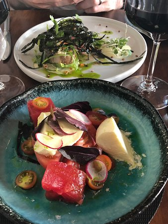 Reuben's Restaurant and Bar: Mozzarella, tomato and watermelon salad