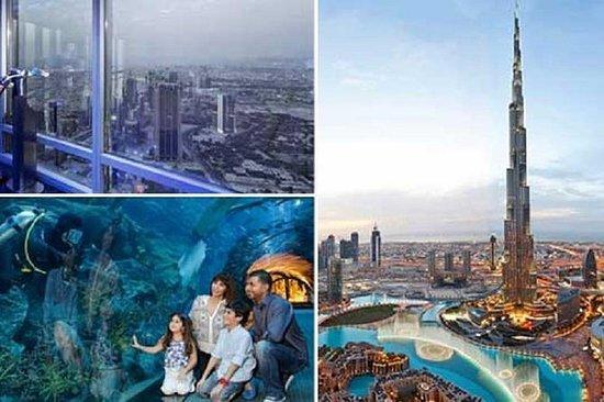 在顶级Burj Khalifa&迪拜水族馆和水下动物园组合门票