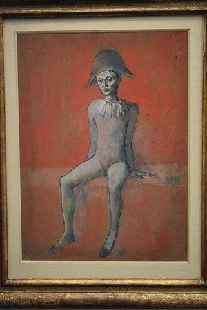 """Arlecchino su divano rosso, P. Picasso, dalla mostra """"Picasso. Bleu et rosa"""" al Museo d'Orsay"""