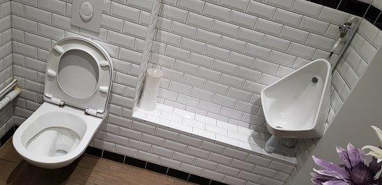Restaurant de la Place: Toilettes nickel et urinoir, d'un propreté impeccable