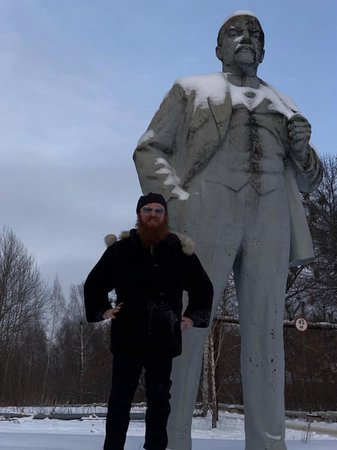 The last statue on Lenin in Ukraine (unable to be removed as laws say no construction in Chernobyl due to risk of further contamination)
