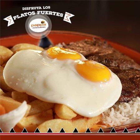 Lasso, الإكوادور: Lomo de falda asado, con las mejores papas del Ecuador.  Roasted pork loin, with the best potatoes of Ecuador