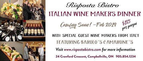 Risposta Bistro: Wine Makers Dinner - Coming Soon