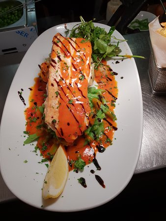 Pan Seared Salmon with a red pepper Jus