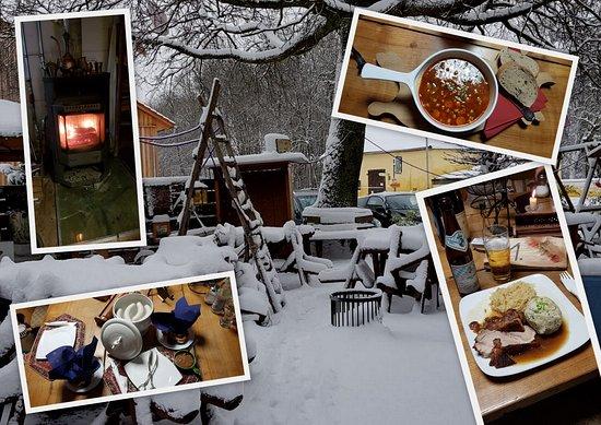 Hallbergmoos, ألمانيا: Winter draußen - drinnen bei uns brennt der Kamin. Es wartet ein warmes Essen und ein Tasse Kaffee auf Euch.