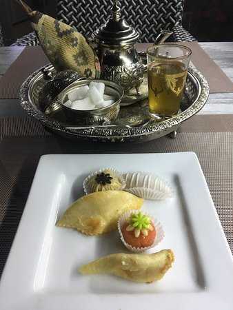 Desert. An assortment of Moroccan pastries and tee