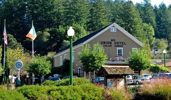 The historic Union Hotel restaurant and saloon in beautiful downtown Occidental, CA.