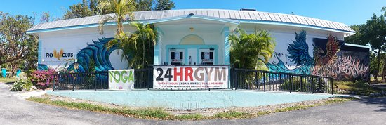 This is the FNX Club, Islamorada Yoga is located within this building - use the door on the left