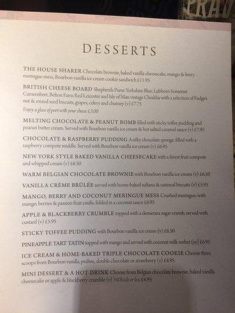 Great dessert menu