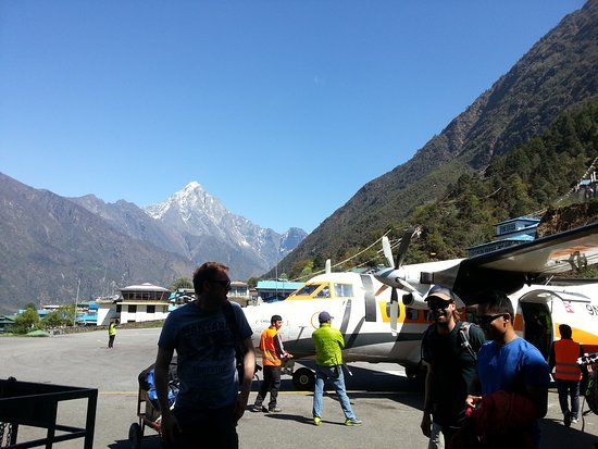 Lukla Airport.  A tiny aircraft-18 seater. 35mins Scenic and Adventurous flight from Kathmandu