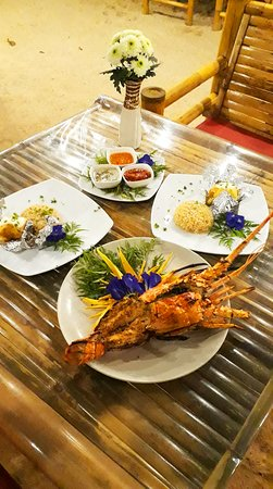 """Khao Lak Restaurant the name is """"Pinky Beach at Pak Weep Restaurant $ Bar"""" Fresh Seafoods Daily"""
