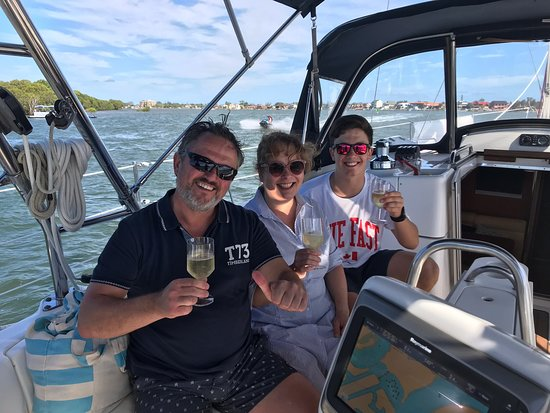 Our first guests from Germany enjoying a wonderful afternoon cruising the Broadwater.