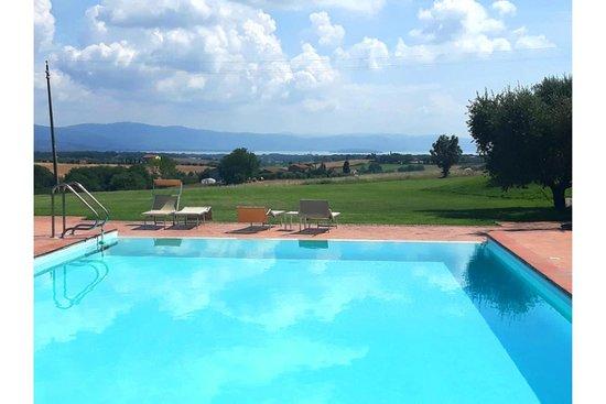 Pozzuolo, Italy: Blick vom Pool auf Lao di Trasimeno