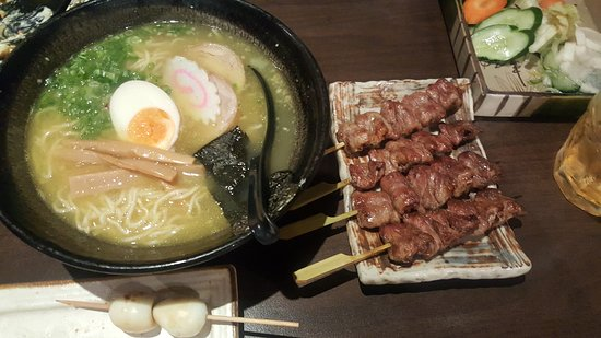 Ramen and chicken hearts on a stick