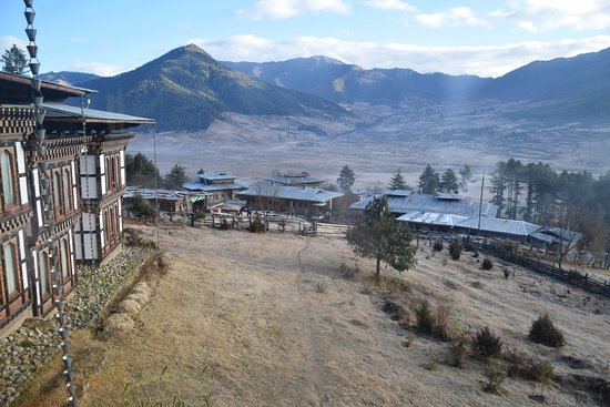 Early morning view of Phobjikha Valley from entrance to reception