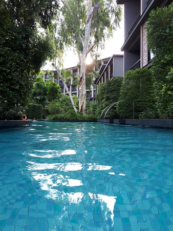 Hua Hin Marriott Resort & Spa: The resort features five pools, one of which is the loop pool. It is surrounded by lush vegetation and trees providing some shade.
