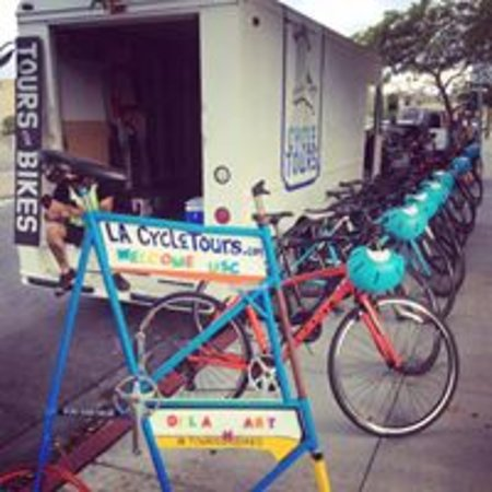 All inclusive bicycle tours, all you have to do is show up! This is our Step Van waiting for our guests