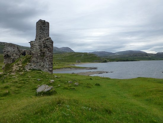 side view with Loch Assynt