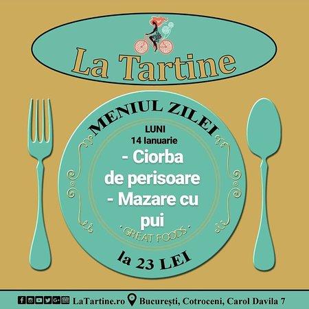 🕛 De la ora 12:00 va așteptăm #LaTartine #Cotroceni cu #MeniulZilei (#Luni, 14 #Ianuarie) la 23 LEI: - Ciorba cu perisoare - Mazare cu pui  * în limita stocului disponibil   #LaTartineCotroceni #București