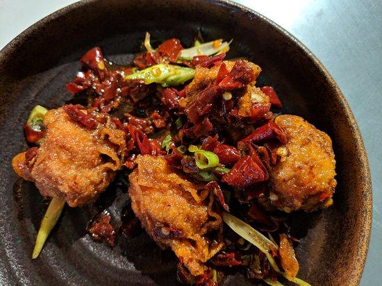 YuGo: Crispy chicken and chilli.  Reassuringly spicy.