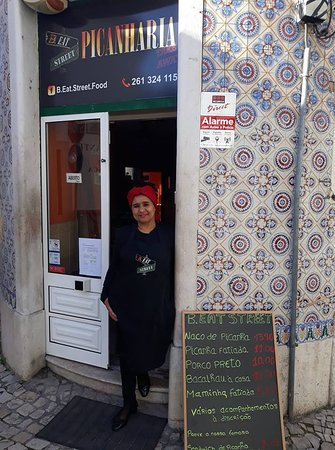 B.Eat Street Picanharia Take Away: Our staff Helena Centeio in front of the Restaurant