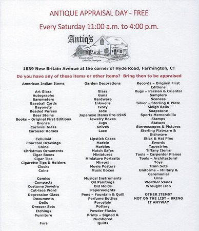 ANTIQUE APPRAISAL DAY - FREE - EVERY SATURDAY