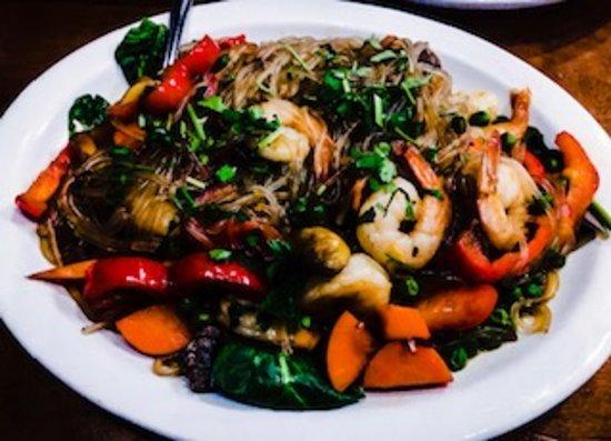 Sweet potato noodle shrimp stir fry
