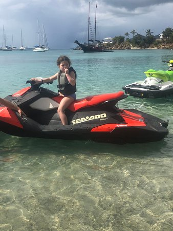 Water Island, St. Thomas: E waiting for her big sister to get back on!