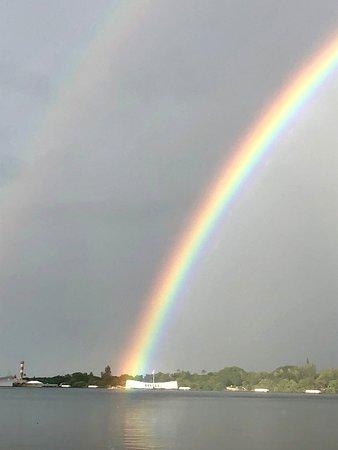Rainbow on the Arizona Memorial at Pearl Harbor on Oahu.
