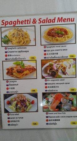 spaghetti & salad menu