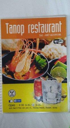 Tanop restaurant menu