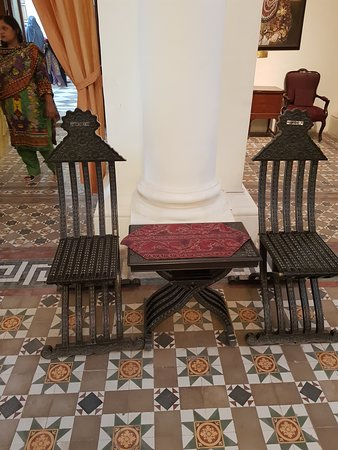folding chair and table in lounge
