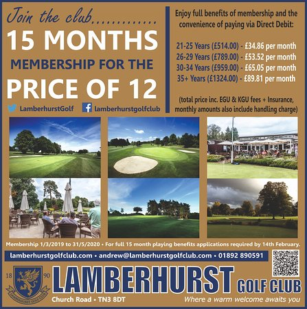 Lamberhurst Golf Club: Membership special for 2019.....apply before 14th February....