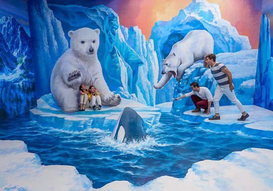 Museo Trick Eye: Let's go to a winter wonderland and pose with dizzying scenes from an ice cliff!