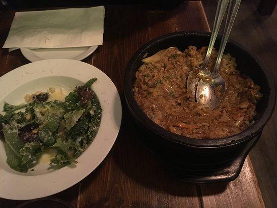 Otto Yakitori: kale salad with egg and bibimbap