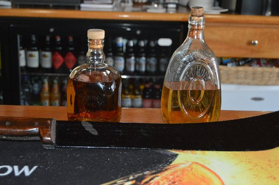Isle of Eriskay, UK: Whisky and a cutlass salvaged from the Am Politician