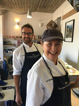 The owners and teachers at the Akaroa Cooking School
