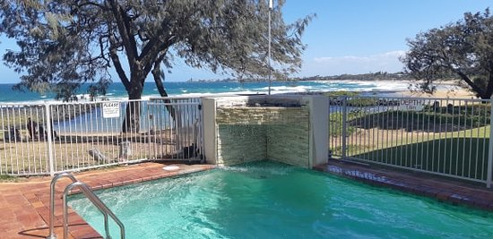 Pool with beach view
