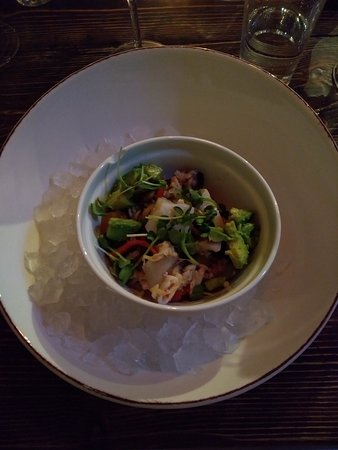 mixed seafood salat with avocado nice and tasty sharpness