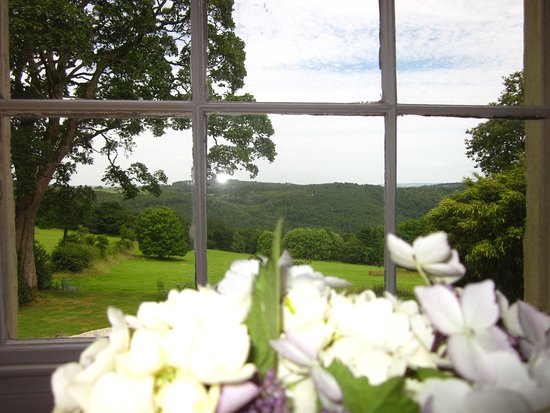 Gunnislake, UK: Fresh flowers from the garden welcome you to the Dartmoor Room.