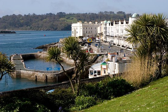 Plymouth Hoe: This picture is of West Hoe, looking out to sea on your right. You can park at the edge of the road and look out to sea or wander over the grassy area. Climb Smeaton's Tower or wander down to the shingle beach or the gorgeous Lido Pool.