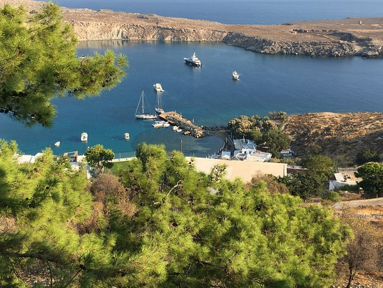 View of the harbor from the acropolis in Lindos, Rhodes