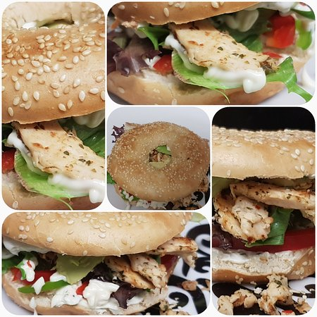 Wrays Cafe Bar: Bagel - Seasoned chicken mayo with peppers,onions and a leafy salad on a warm toasted bagel with a smothering of cream cheese.